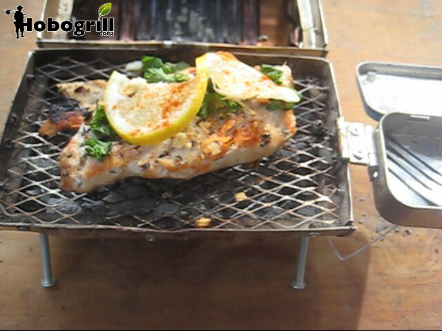 chicken breast garnished with lemon, parsely and paparika